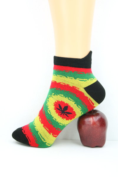 Low-cut Socks Black Psychedelic All Sizes