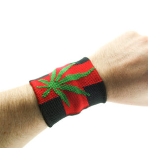 Wristband Red Cross Cannabis Leaf