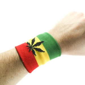 Rasta Store Cannabis Wristband Green Yellow Red Stripes Writsband with Leaf
