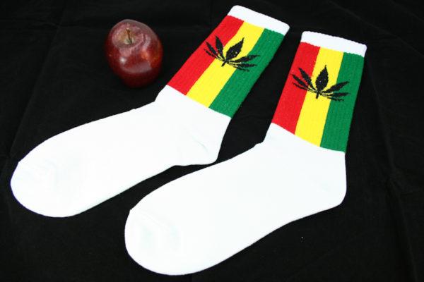 Long Socks White Marijuana Leaf Rasta Stripes