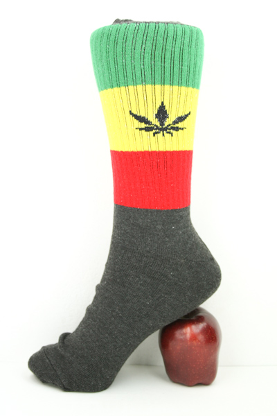 Long Black Rasta Sock Cannabis Leaf