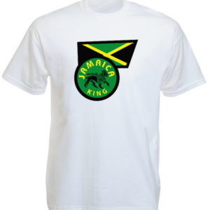 Jamaica King Lion of Judah with Jamaican Flag White T-shirt Short Sleeves