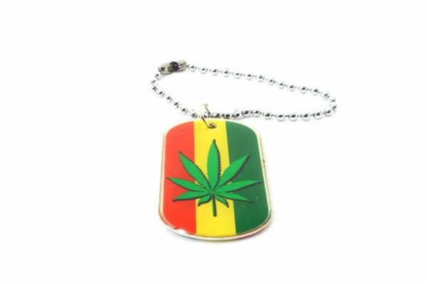 Keychain Cannabis Leaf All Metal Green Yellow Red Stripes