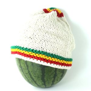 Beanie White Short Small Stripes Green Yellow Red