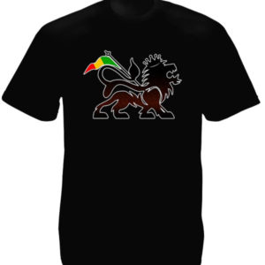Lion of Judah Black T-shirt Short Sleeves Rasta Flag