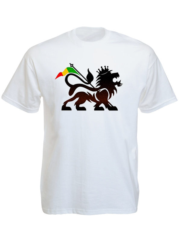 Lion of Judah Rasta Flag White T-shirt Short Sleeves Black Green Yellow Red