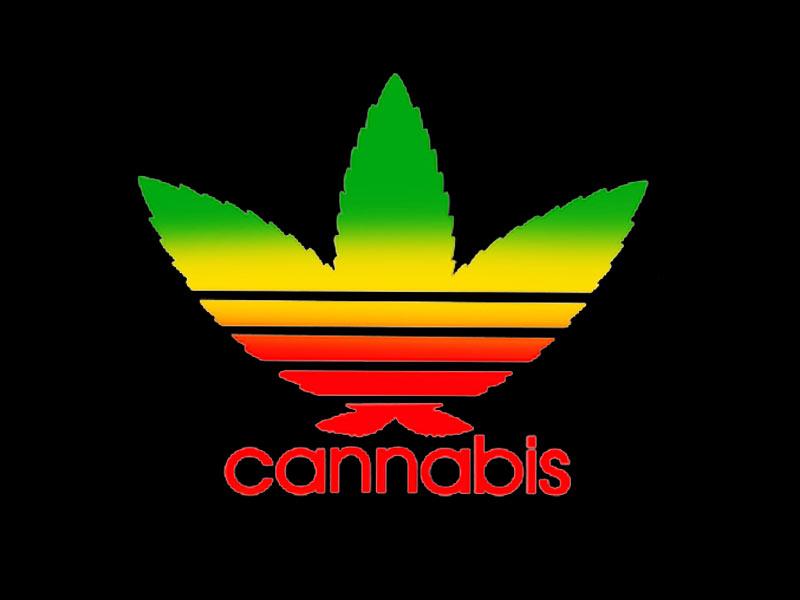 Cannabis Adidas Black T Shirt Short Sleeves Rasta Colors
