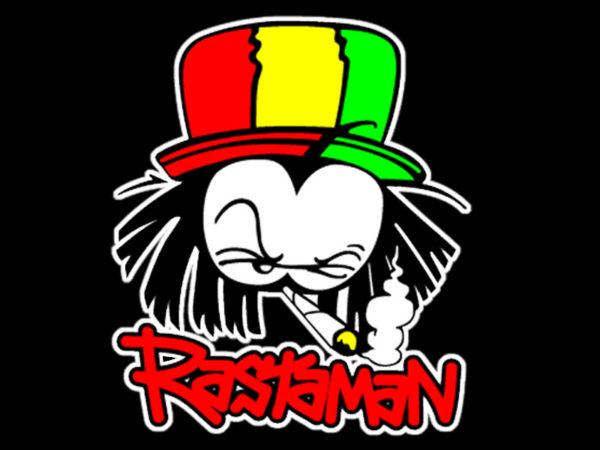 Green Yellow Red Rastaman Black T-shirt Short Sleeves