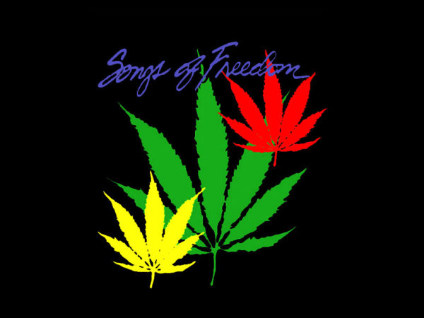 Songs of Freedom Black T-shirt Short Sleeves Marijuana Leaves