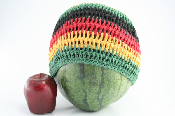Beanie Short Large Stripes Black Red Yellow Green