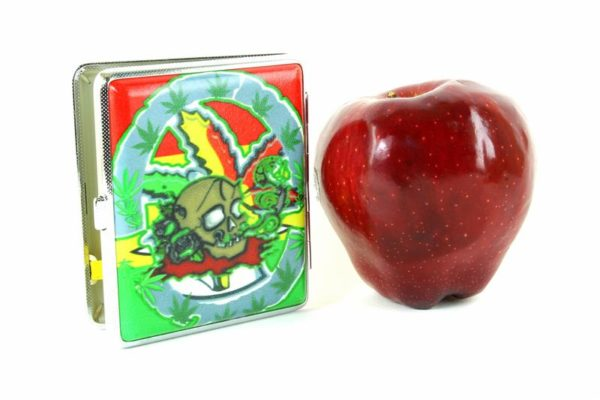 Metallic Cigarettes Case Cannabis Skull Rasta Colors