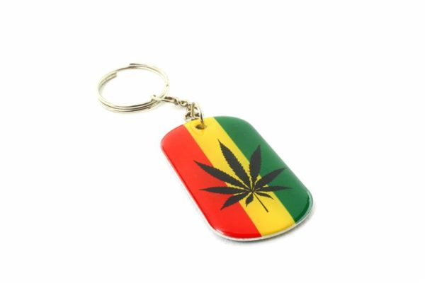 Metallic Keyring Black Cannabis Leaf and Green Cannabis Leaf