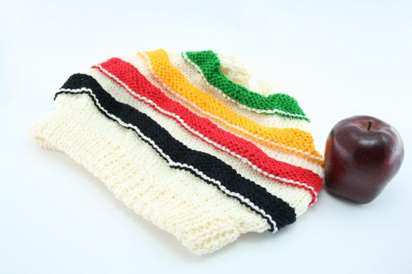 Beanie White Long Stripes Green Yellow Red Black