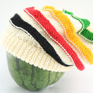 Beanie White Long Stripes Green Yellow Red Black