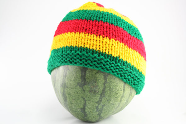 Beanie Short Large Stripes Red Green Yellow