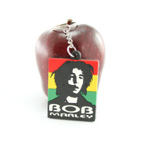 Bob Marley Keychain Black and White Bob Portrait