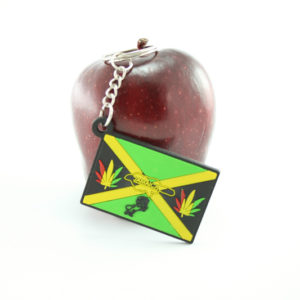 Jamaica Flag Keychain with Marijuana Leaf