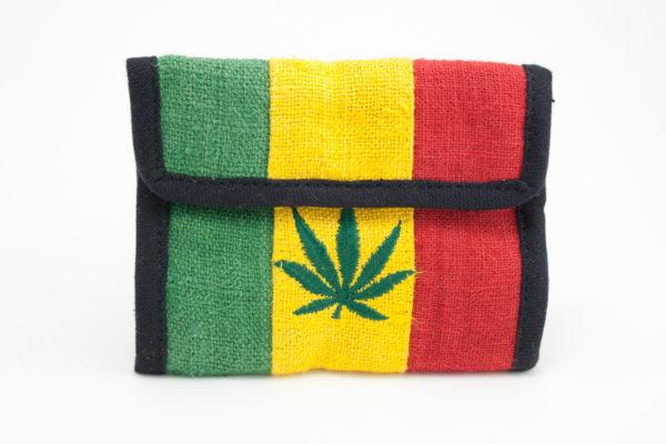 Wallet Hemp Cannabis Leaf Velcro Zip