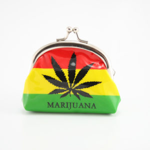 Purse Vinyl Ganja Leaf Green Yellow Red