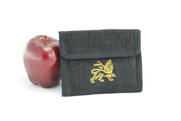 Wallet Black Hemp Cannabis Leaf Velcro Zip