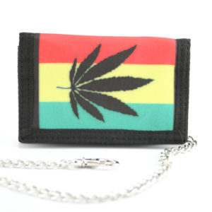 Wallet Fabric Chain Black Marijuana Leaf