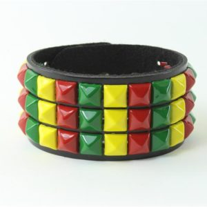 Bracelet Green Yellow Red Leather and Metal