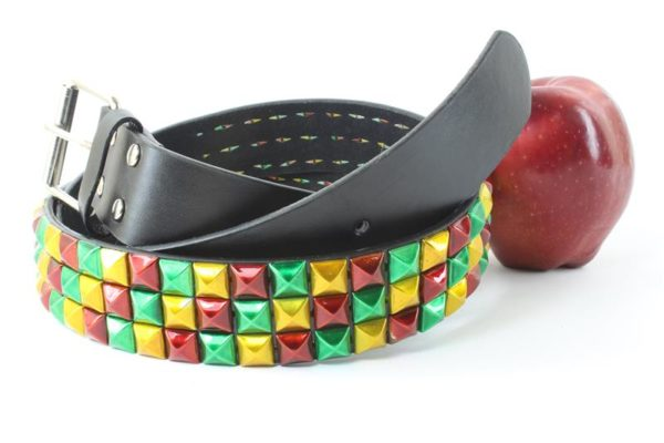 Rasta Colors Belt Green Yellow Red Metallic Spikes