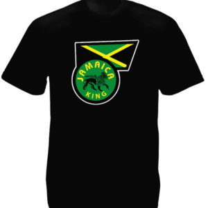 Rasta Flag Black T-shirt Short Sleeves Lion of Judah Jamaica King