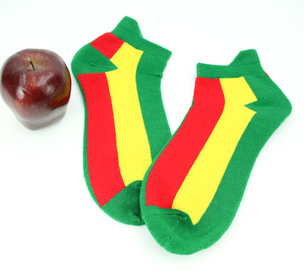 Green Socks with Yellow and Red Stripes Rasta Socks Unisex Stretchable Men