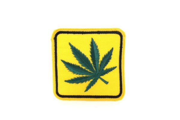 Patch Cannabis Leaf Yellow Road Sign