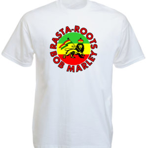 Rasta Roots Bob Marley White T-shirt Short Sleeves Lion of Judah