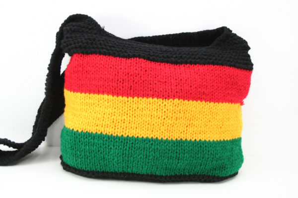 Bag Shoulder Knitted Green Yellow Red Black Zip