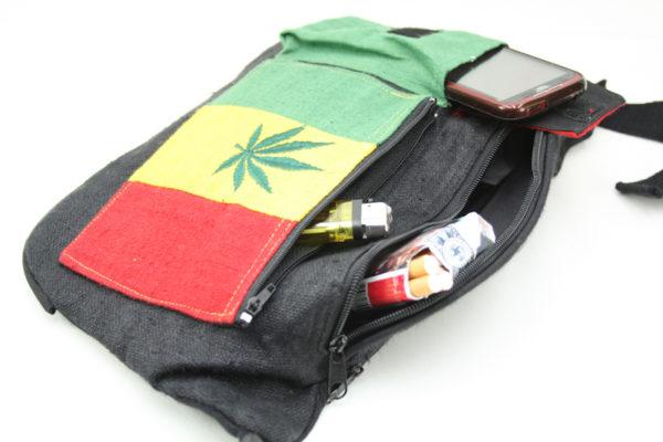 Bag Waist Hemp Pockets Cannabis Green Yellow Red