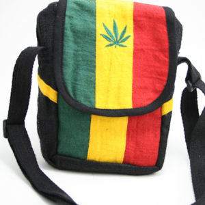 Bag Hemp Shoulder Cannabis Leaf Velcro Zip
