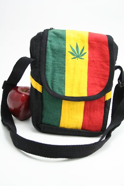 Bag Hemp Shoulder Cannabis Leaf Velcro Zip