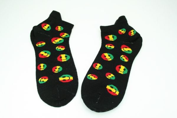 Smiley Socks Low-cut Black Socks Rasta Smiley Unisex Stretchable Men and Women