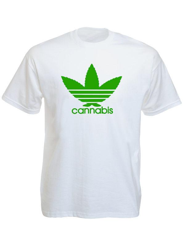 Adidas Cannabis Logo White Tee-Shirt