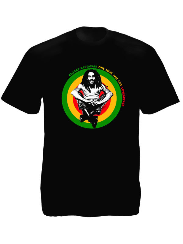 One Love and Peace Jah Live Bob Marley Black Tee-Shirt