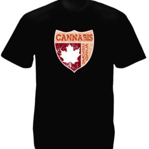 Arms of Canada Cannabis Maple Leaf Black Tee-Shirt