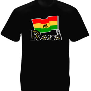 Green Yellow Red Lion Rasta Flag Black Tee-Shirt