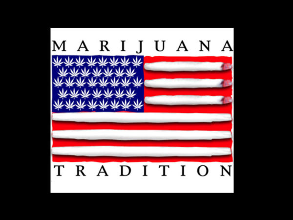 Marijuana Tradition USA Flag Black Tee-Shirt