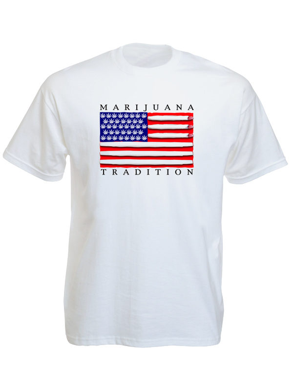 Marijuana Tradition USA Flag White Tee-Shirt