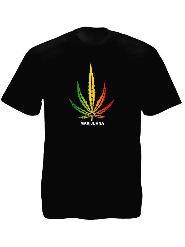 Marijuana Rasta Colors Big Cannabis Leaf Black Tee-Shirt