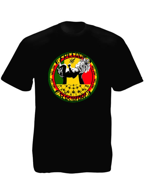 Freedom Jamaïcan Rastafari Black Tee-Shirt