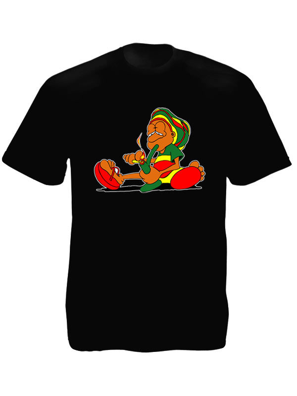 Rastaman Smoking Pipe Black Tee-Shirt