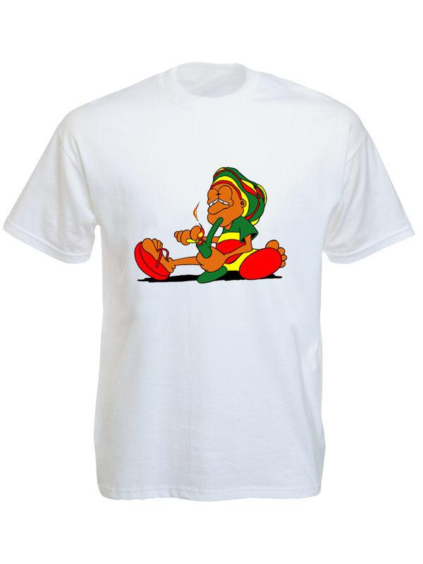 Rastaman Smoking Pipe White Tee-Shirt