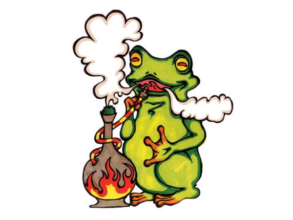 Frog Smoking Pipe White Tee-Shirt