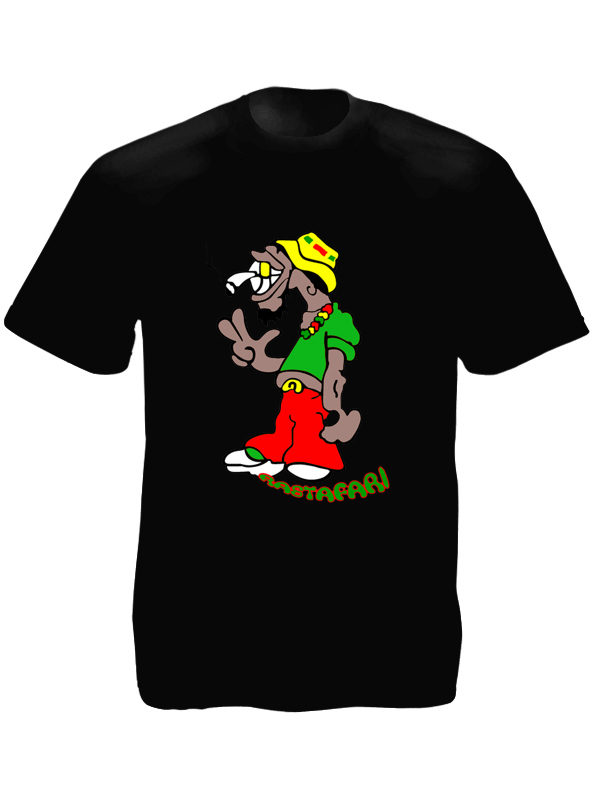 Humour Rastaman with Joint Black Tee-Shirt