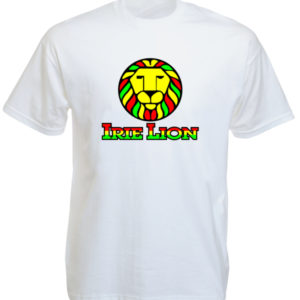 Green Yellow Red Irie Lion White Tee-Shirt