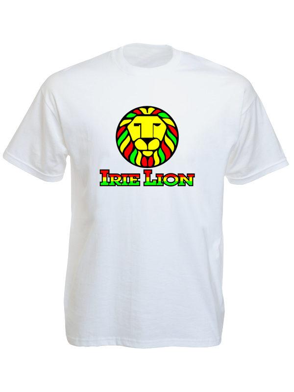 Green Yellow Red Irie Lion White Tee-Shirt